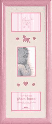 FOTORÁMIK ružový Baby Brights pre 3 fotografie 10x15 cm