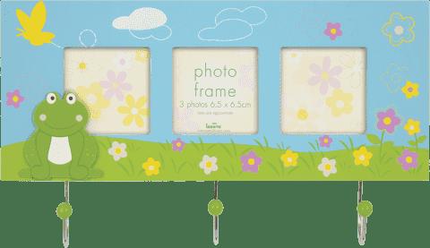 FOTORAMKA niebieska Cute FROG z wieszakiem na klucze na 3 fotografie 6,5 x 6,5 cm