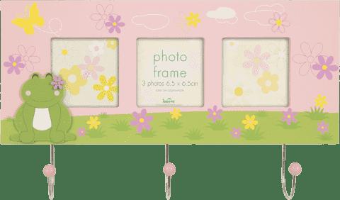 FOTORÁM růžový Cute FROG s věšákem na klíče pro 3 fotografie 6,5x6,5 cm