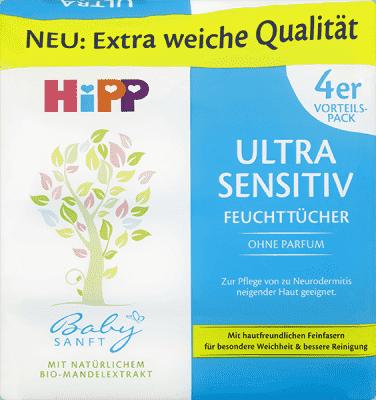 HIPP Babysanft Chusteczki pielęgnacyjne Ultra-Sensitive 4 x 52 szt.