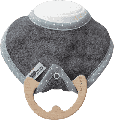 LULLALOVE SupeRRO Baby Eco – bryndák a kousátko 2v1, šedá