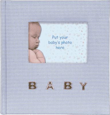 FOTOALBUM modréý Baby Gingham pre 100 fotografií 10x15 cm