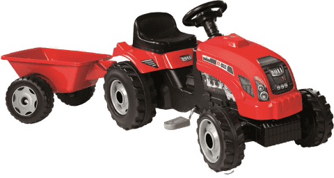 SIMBA Traktor z pedałami GM Bull z przyczepą czerwony