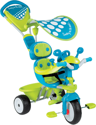 SMOBY Tříkolka Baby Driver Confort stříška zelenomodrá