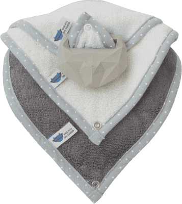 LULLALOVE Kousátko SuperRRO baby hevea sada modré + krémové + šedé