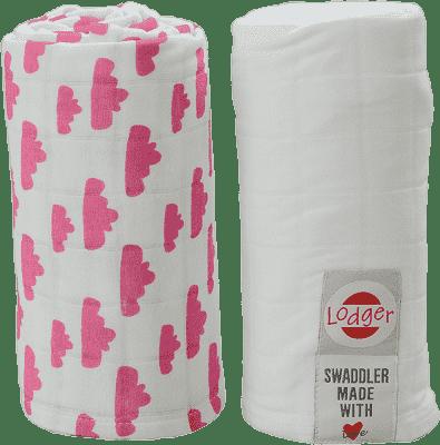 LODGER Multifunkčný osuška Swaddler balenie 2ks - Rosa / White