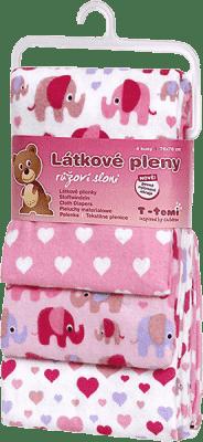 T-TOMI Látkové pleny, sada 4 kusů, růžoví sloni