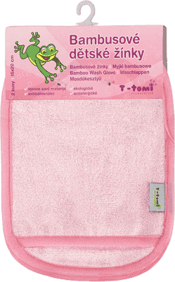 T-TOMI Koupací žínky-rukavice, 2 kusy, růžová