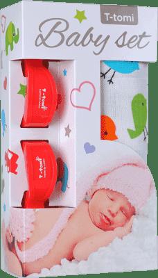 T-TOMI Baby set - bambusová osuška + kočárkový kolíček, červená/ptáčci