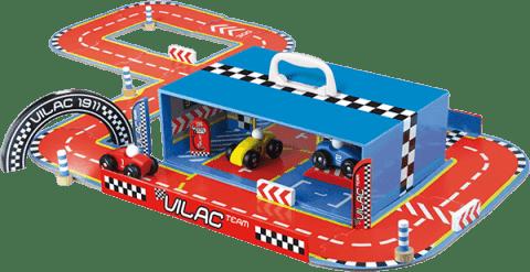 VILAC Zábavná hračka - Závodná dráha s autami v kufríku