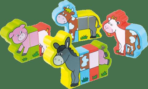 VILAC Drevená hračka - Drevené puzzle - Veselá farma