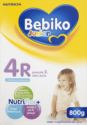 BEBIKO Junior 4R NutriFlor+ (800g) – Mleko modyfikowane z kleikiem ryżowym powyżej 2 lat
