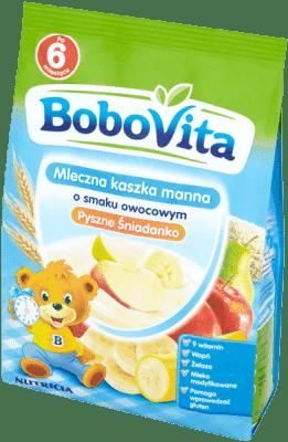 BOBOVITA Kaszka mleczna manna 3 owoce 6m+ (230 g)