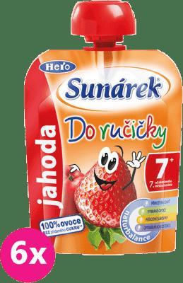 6x SUNÁREK Do ručičky jahoda (90 g) - ovocný príkrm