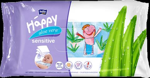 BELLA HAPPY BABY Chusteczki nawilżane sensitive z aloe vera 56 szt.