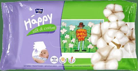 BELLA HAPPY BABY Vlhčené ubrousky hedvábí a bavlna 64 ks