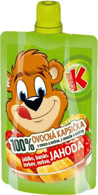 KUBÍK 100% Ovocná Kapsička jahoda, banán, mrkva, jablko 100 g