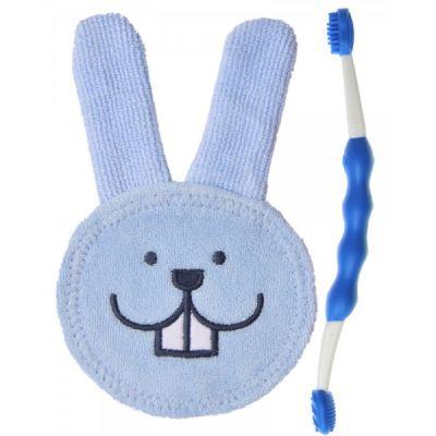 MAM Oral Care Set - zubný set 0+ (žinka+kefka) modrý - náhodný motív