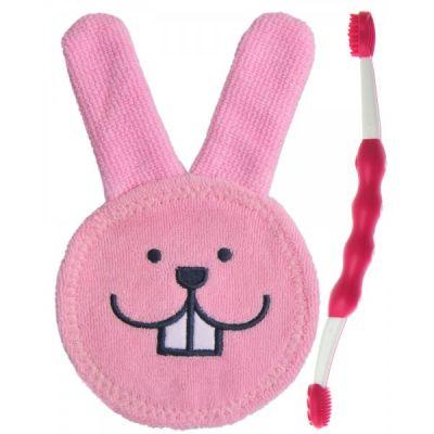 MAM Oral Care Set - zubní set 0+ (žínka+kartáček) růžový – náhodný motiv