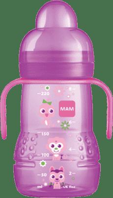 MAM Fľaša TRAINER 220 ml, 4+ mesiacov - ružová - náhodný motív